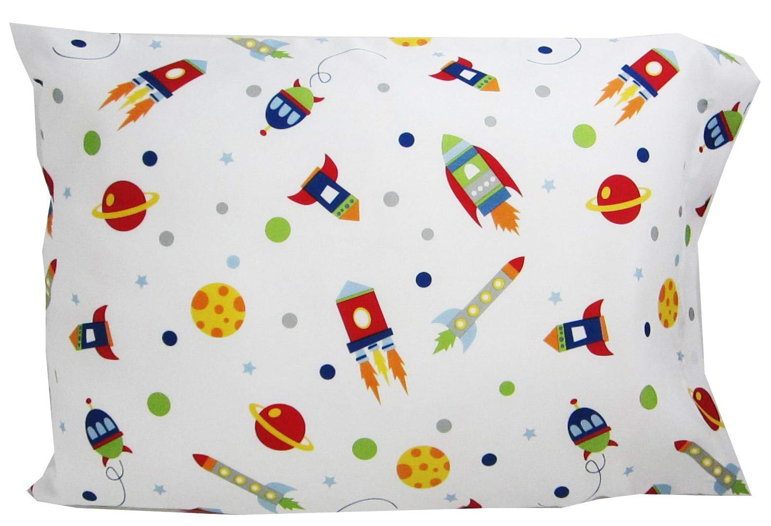 Toddler Pillowcase Kids Space Size: 16x20 Fits Size 14x19 Pillow Boys Girls Kids Bedding by WMS (Image #1)