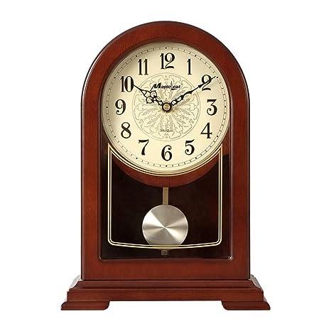 NNIU-ZH Reloj de Escritorio- Reloj de sobremesa, Madera, sin tictac Reloj