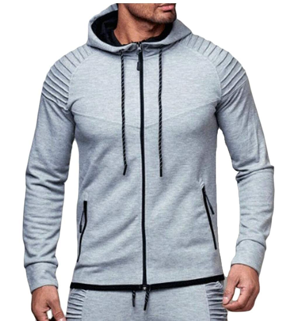 Yayu Mens Long Cardigan Long Sleeve Zipper Hoodies Jacket Coat