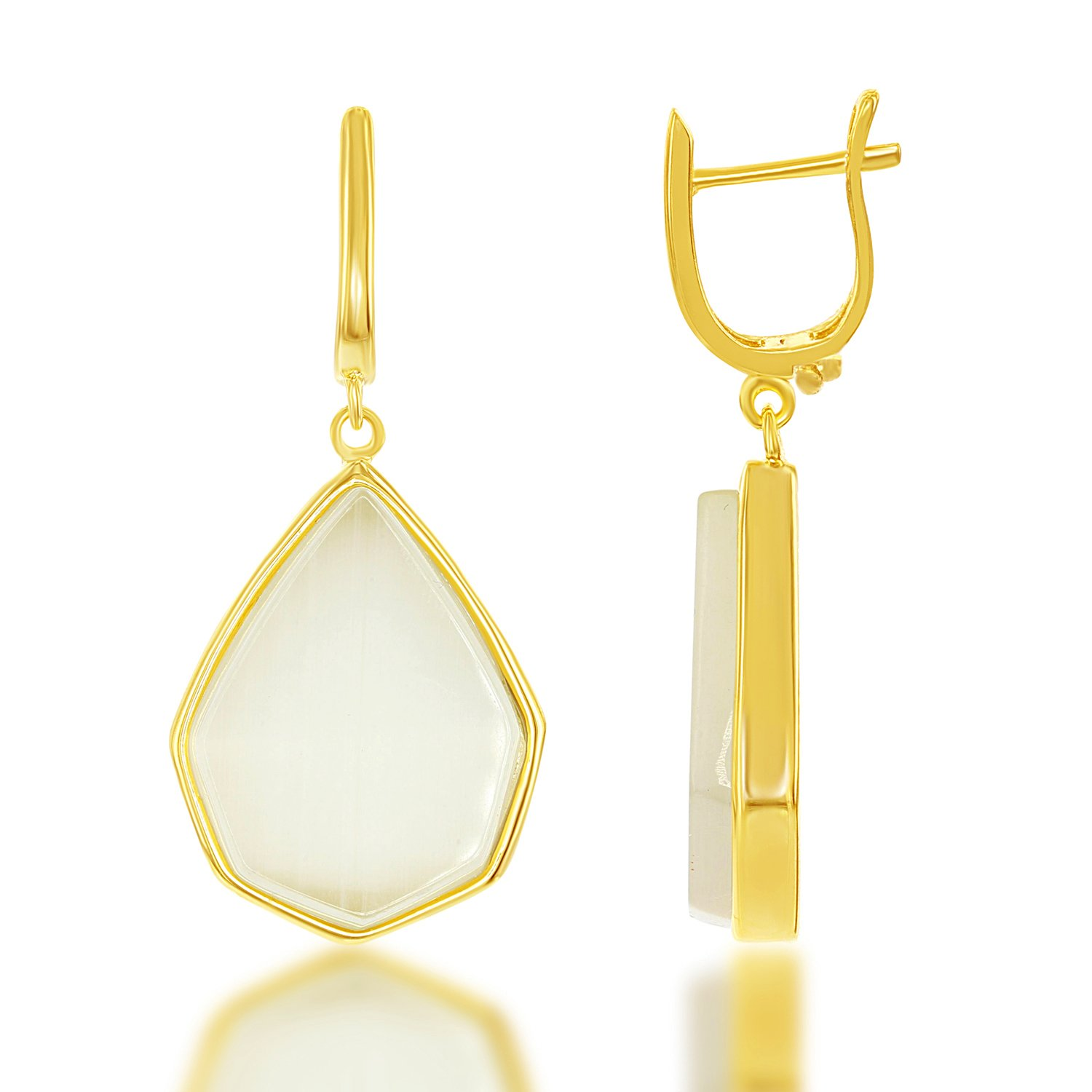 bf6f82514 Amazon.com: Sterling Silver Gold-Plated Nude Yellow Teardrop Created Cats  Eye Dangle Earrings: Jewelry