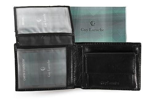 Guy Laroche Cartera Hombre Piel Verdadera Negro 4 Tarjetas De Crédito + Solapa + Monedero A407: Amazon.es: Zapatos y complementos