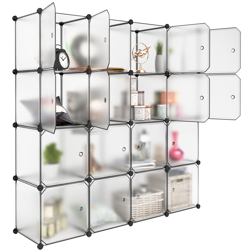 LANGRIA 16 Cube Organizer Plastic Stackable Storage Shelves Multifunctional Modular Closet Cabinet with Hanging Rod for Clothes Toys(Transparent Brown)
