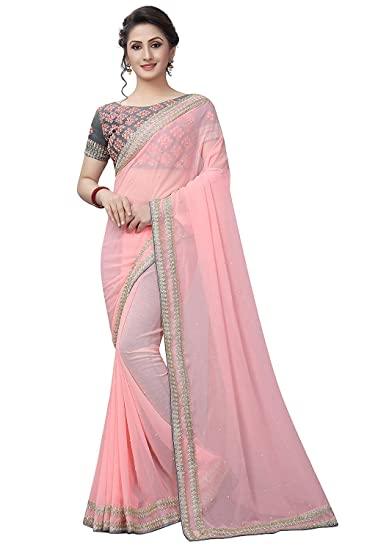 5c5e80af2 Lajree Designer Pure Georgette Saree (Mariya Pink A Pink )  Amazon ...