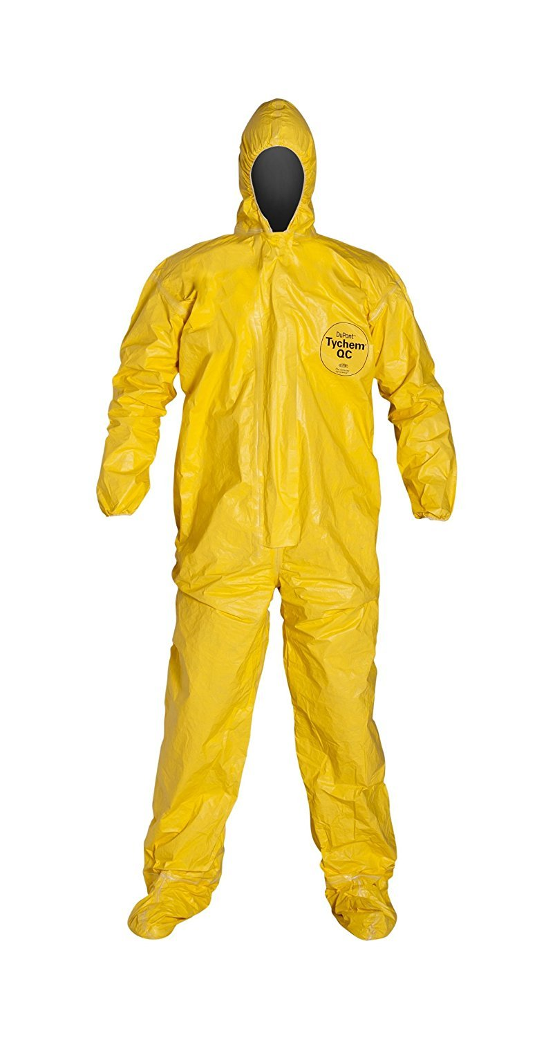 (6 EACH/SIZE 2XL) Tychem QC 2000 Chemical Resistant Coverall with Hood, Attached Boots, Elastic Wrists, Serged Seams, Front Zipper Closure with Strom Flap