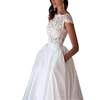Dimei Women\'s A Line V Back Cap Sleeves Satin Ball Gown Wedding ...