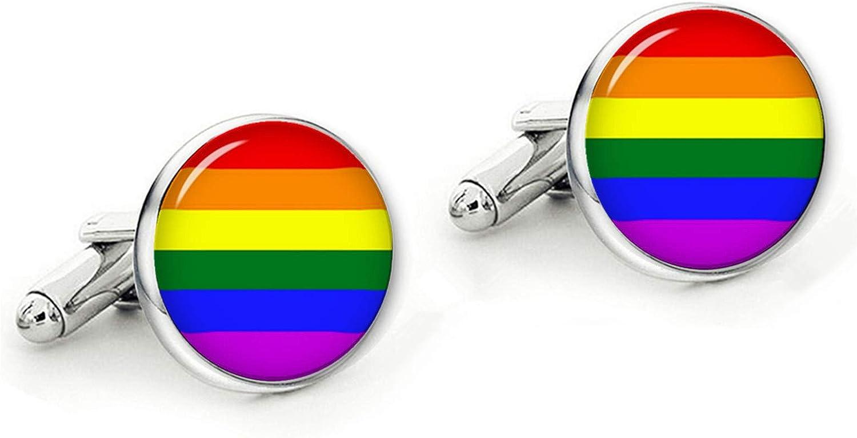 Kooer Rainbow Cufflinks Gay and Lesbian Personalized Wedding LGBT Cuff Links LGBT Wedding Gift