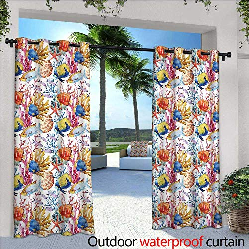 Fish Outdoor Privacy Curtain for Pergola Coral Reef Scallop Shells Fish Figures Sea Plants Polyp Murky Nautical Maritime Life Thermal Insulated Water Repellent Drape for Balcony W72