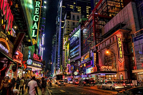 (New York City Times Square Theater District Illuminated at Night Photo Art Print Mural Giant Poster 54x36 inch)