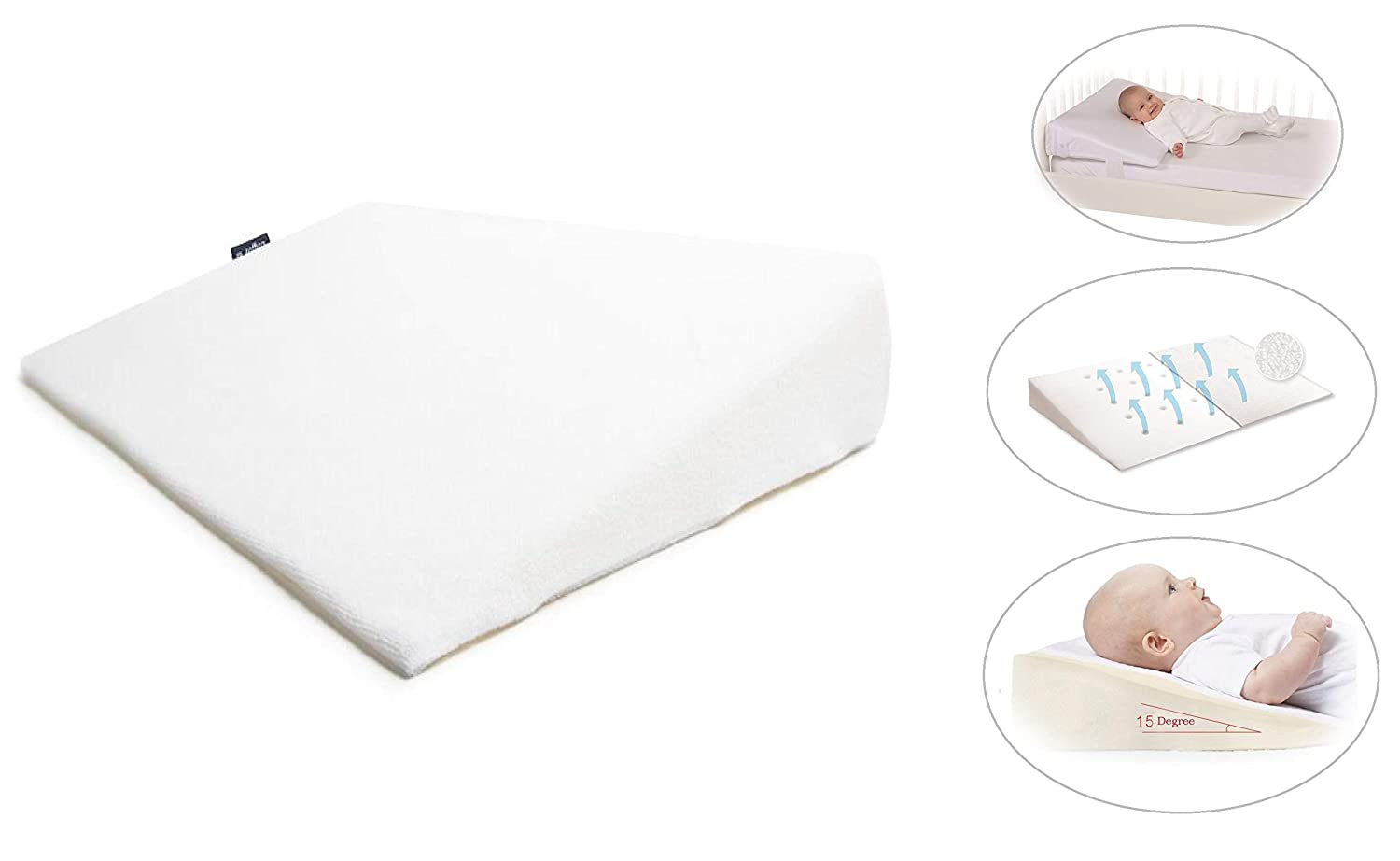 Baby Sleep Pillow Safety Anti Reflux and Colic Congestion Wedge Foam Flat Wedge Universal Bassinet Pram Moses Basket Stroller Crib Cot Bed White Large