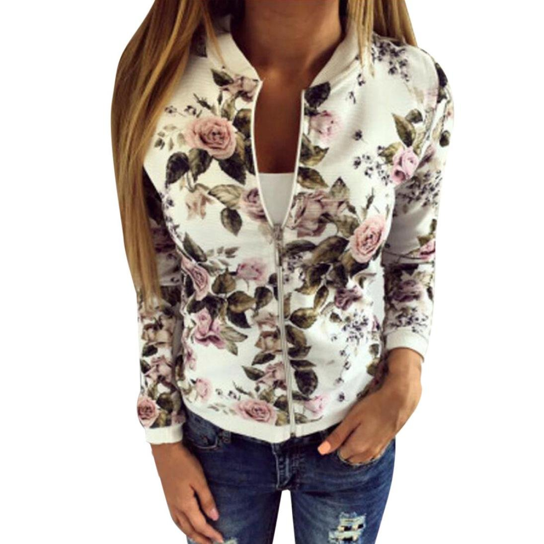 Gillberry Women Stand Collar Long Sleeve Zipper Floral Printed Bomber Jacket (White, M) by Gillberry Women's Jacket