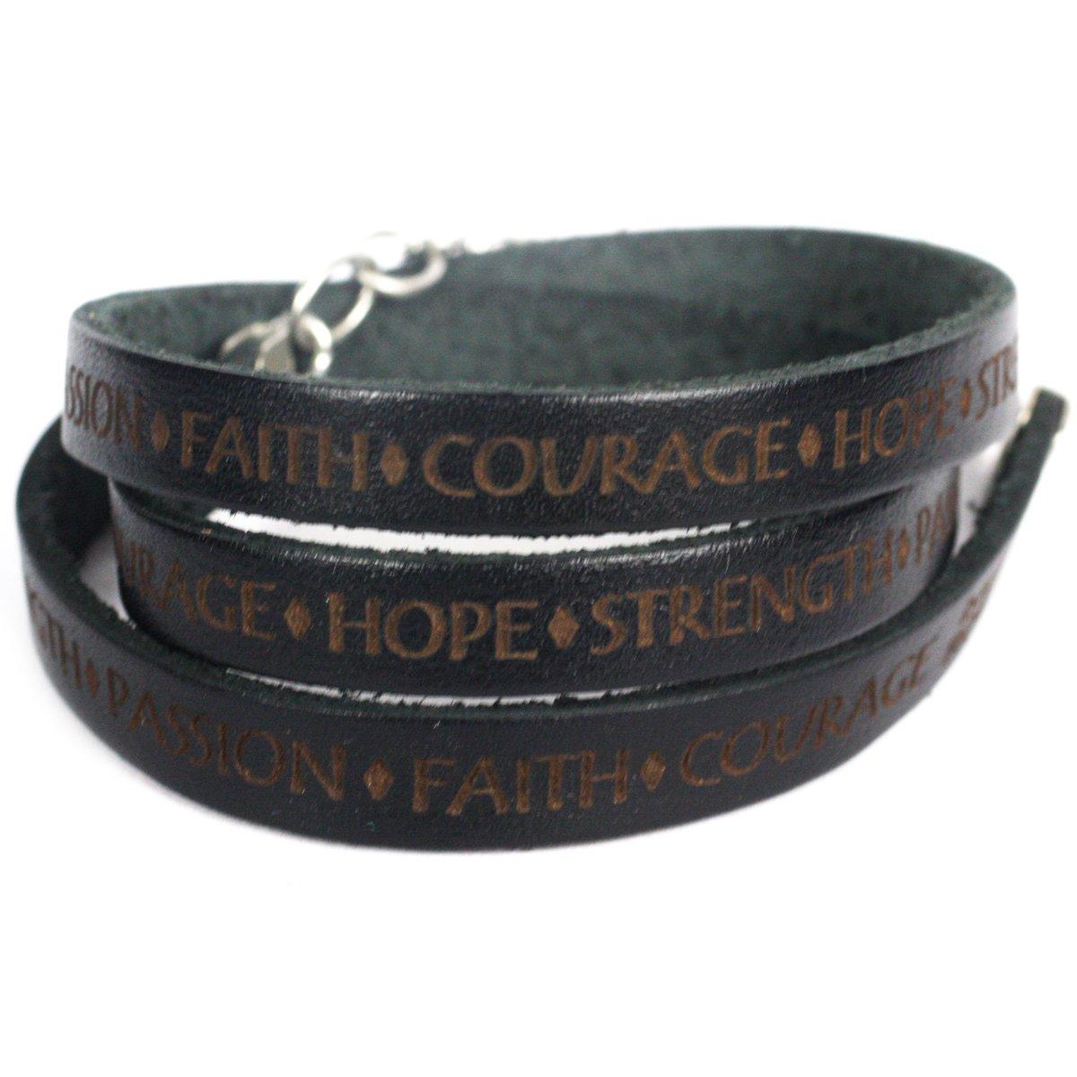 Faith Courage Hope Strength Passion Leather Wrap Bracelet - Black Dillon Rogers WRP-217-BLK