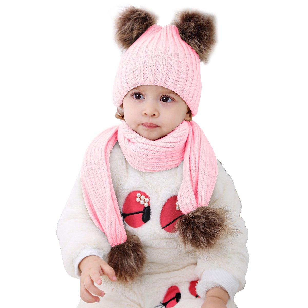 2pcs Baby Girls Boys Winter Hat Scarf Set, Infant Toddler Newborn Baby Knit Warm Beanie Cap Ski Hat + Scarf with Pom Pom Ball (Hat+Scarf Pink)