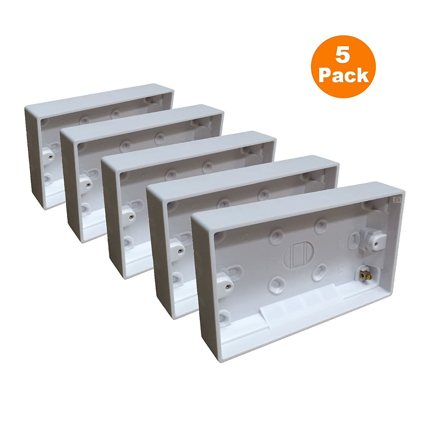 5 x Surface Mounted Back Box 25mm Wall Pattress Double 2 Gang Electrical Socket Red and Grey