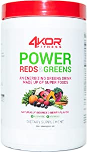 4KOR Fitness Power Reds & Greens: an Energizing Greens Drink Made up of Antioxidant-Rich Superfoods, Gluten-Free and Vegetarian, 30 Servings (1 Bottle)