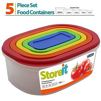5 pc del arco iris Oval de alimentos seguros contenedores de juego ...
