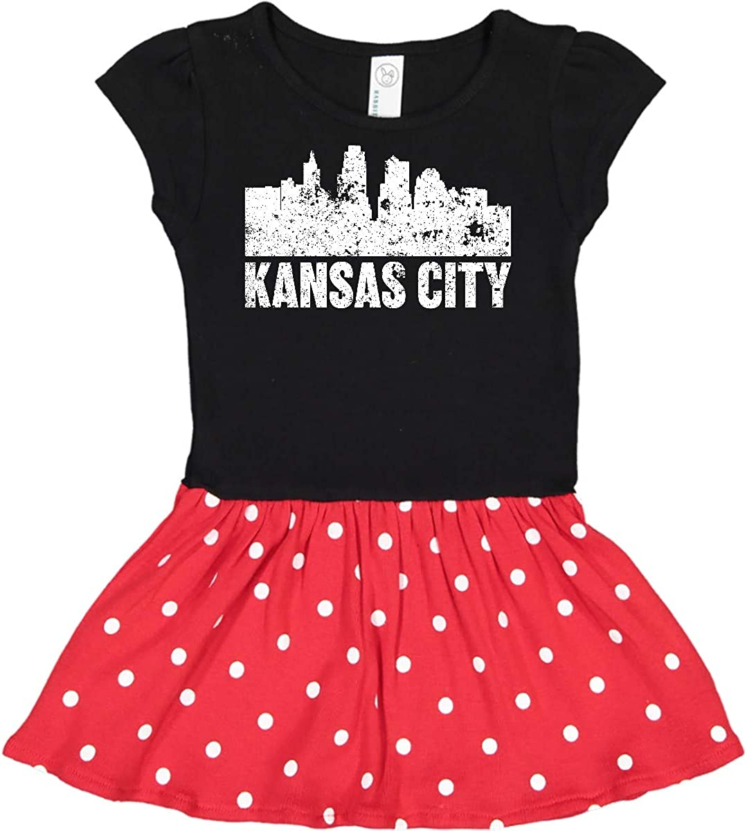 inktastic Kansas City Skyline Toddler Dress 4T Black & Red with Polka Dots