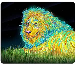 Psychedelic Lion Trippy Artwork Traditional Art Snail Mousepad, Customized Rectangle Mouse pad by icecream design