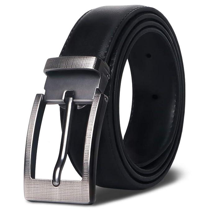 MR Cinturón Hombre Cuero Cinturones de Piel Negro Marrón Clásico con hebilla plateada