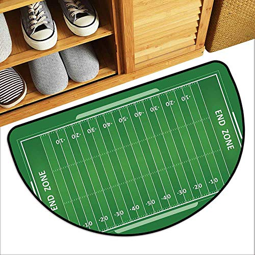 - DILITECK Thin Door mat Football Field of The Game Strategy Tactics End Zone Touchdown Sports Competition Theme Non-Slip Door mat pad Machine can be Washed W36 xL24 Green White