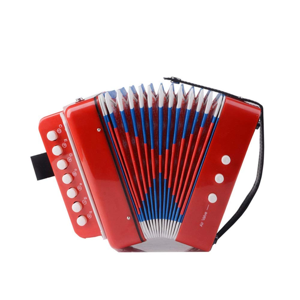 Sunsamy Accordion, 7 Keys 2 Bass Mini Kids Accordion with Straps Music Instruments for Beginners Students Small Educational Instrument Band Toys Children's Gift Musical Toy Instruments