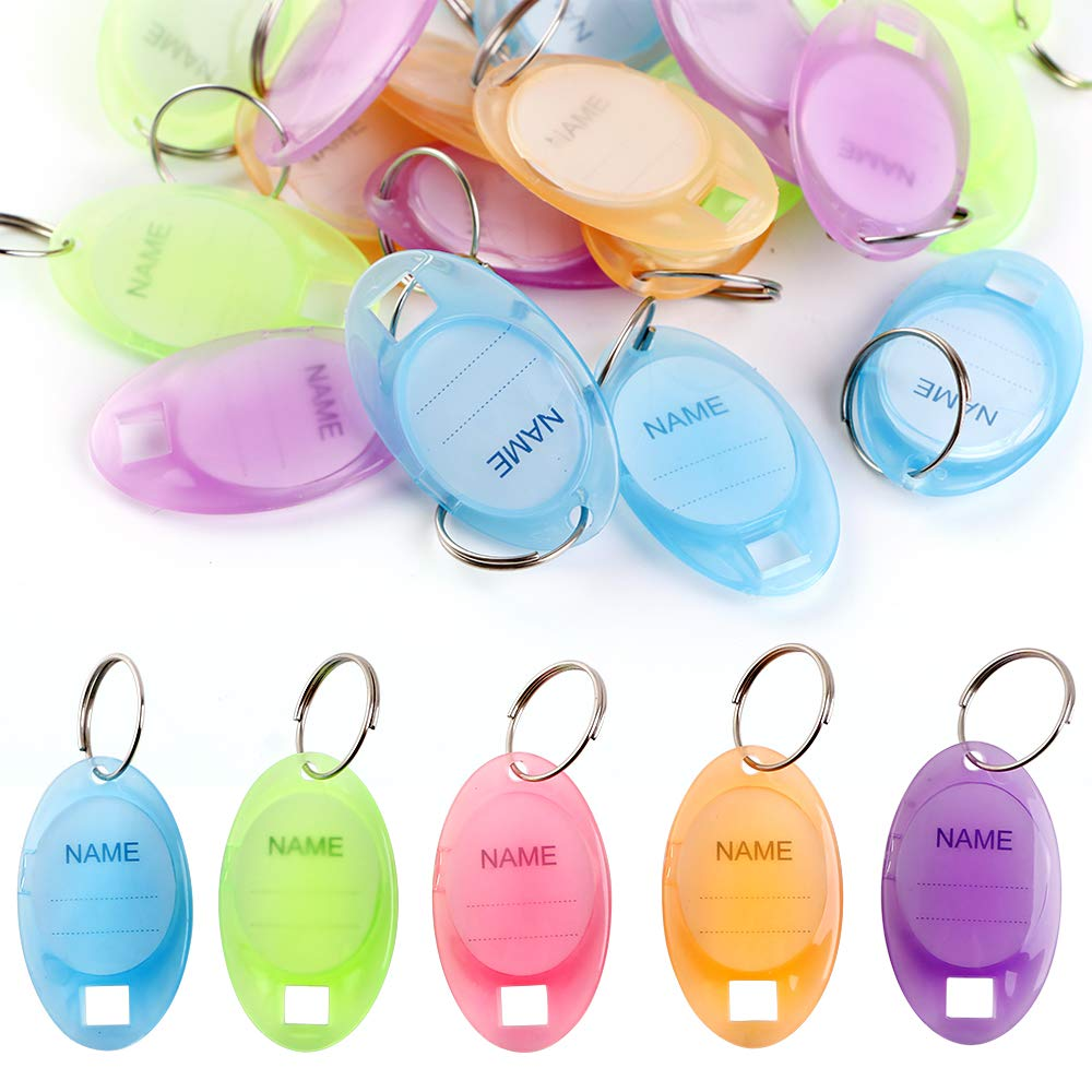 50 Pcs Tough Key Tags Key ID Tags Dual Display The Curved Surface Colors Keychain Tags with Window Split Ring(5 Colors)