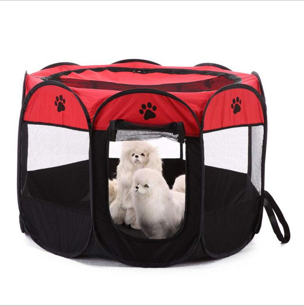Red SYAMERIJIA Octagonal Tent Fence of Foldable Pet Tent Oxford Pet Dog Cage