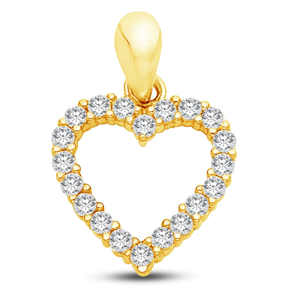 14K Yellow Gold Ornate Open Heart Charm Pendant with CZ Cubic Zirconia Accent 12x12 mm
