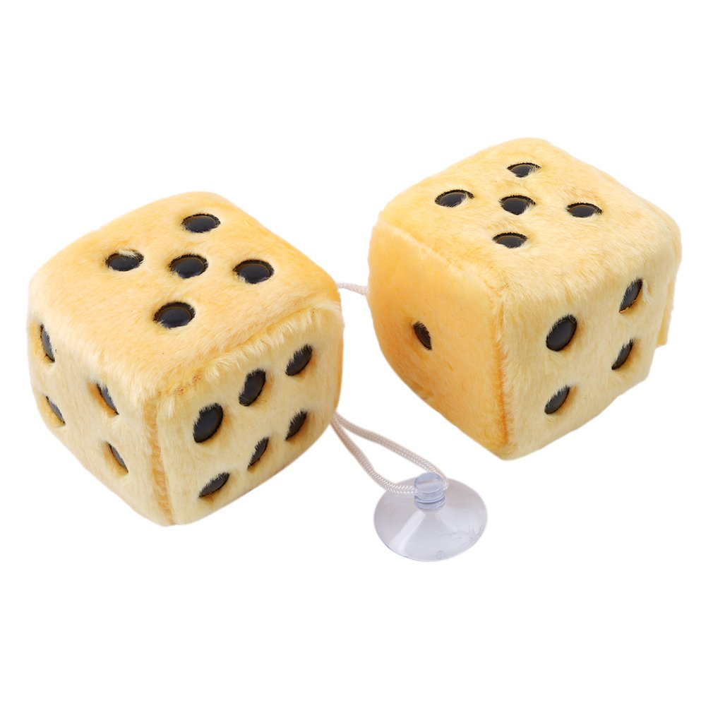 LnLyin Car Hanging Furry Dice Plush Dice With Dots For Car Interior Ornament Decoration,Black-White Dots,One Size