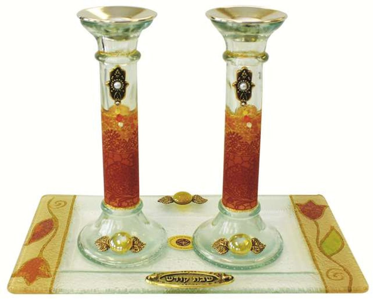 Ultimate Judaica Candle Stick With Tray Large Applique - Colorful - Tray 10'' W X 5'' L - Candlesticks - 7.5'' H