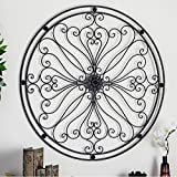 Large Round Wrought Iron Wall Decor Rustic Classic Scroll For Sale