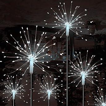 Cadena de luces 120 LED Solares Luces LED Mixtooltoys Luces de Navidad Exterior,Luces Fuegos Artificiales Blanco para Navidad Jardín Entrada Fiestas Boda Decoración 2Pcs: Amazon.es: Iluminación