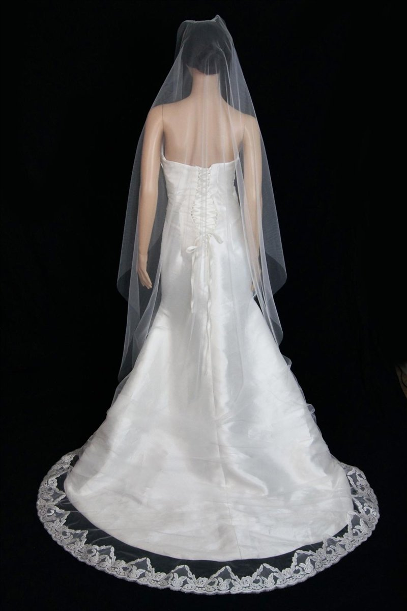 Bridal Wedding Mantilla Veil Ivory 1 Tier Long Cathedral Length With Lace Edge by Velvet Bridal (Image #5)