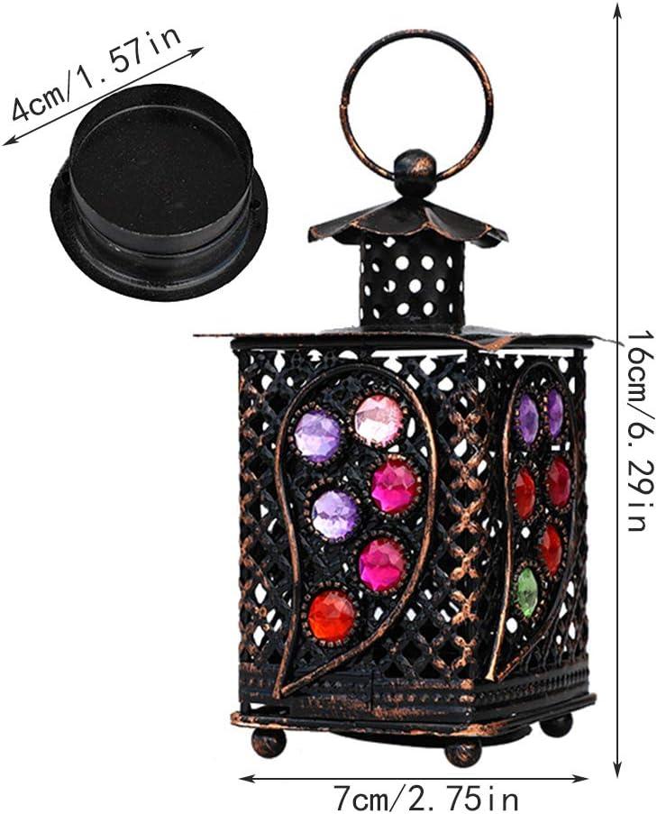 Wankd portacandele per interni ed esterni quadrata antivento Lanterne per lumini per decorazione della casa stile retr/ò marocchino con bicchieri colorati