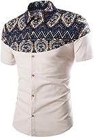 Jofemuho Mens Ethnic Style Printed Short Sleeve Slim Button Down Shirt Top