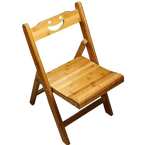 Amazon.com: yiuhart Madera silla pequeña bambú portátil ...