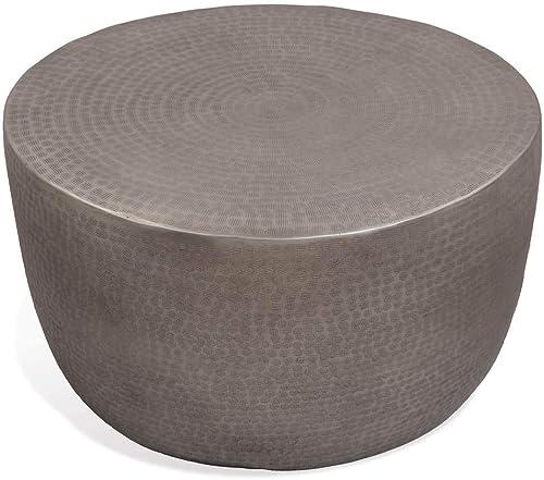 Riverside Furniture Nadene 29″ Drum Metal Accent Coffee Table