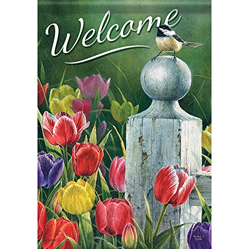 Carson Home Accents Trends Classic Large Flag, Welcome Picket Fence Bouquet (Fence Bouquet Picket)