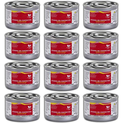 Chafing Dish Fuel Cans - Includes 12 Ethanol Gel Chafing Fuels, Burns for 2.5 Hours (6.43 OZ) for your Cooking, Food Warming, Buffet and Parties.