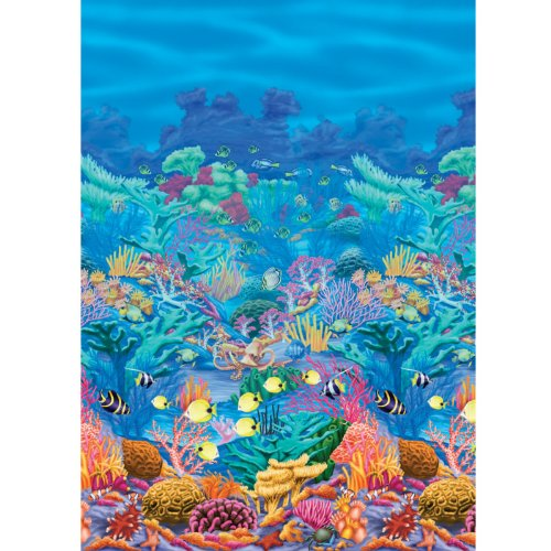 Sun-Sational Summer Luau Party Coral Reef Scene Setter Room Roll Wall Decoration, Vinyl, 40 Feet x 48 Inches (Coral Reef Decorations)