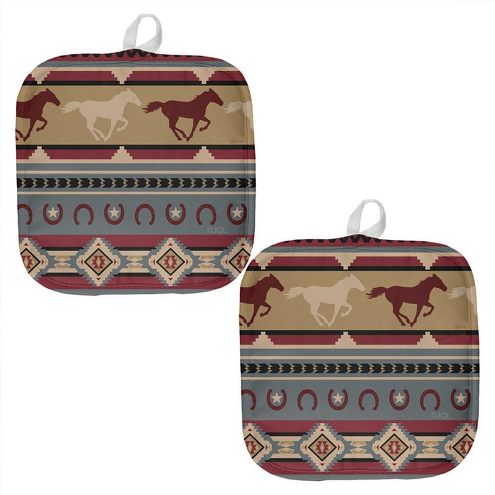 Southwestern Wild Horse Mustang Pattern All Over Pot Holder (Set of 2) Multi Standard One Size