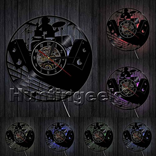 The Geeky Days Drum Kit Vinyl Record Clock Rock N Roll Drums Musical Instruments Rock Drummer Wall Clock Unique Gift for Rock Music Lover (with LED) ()