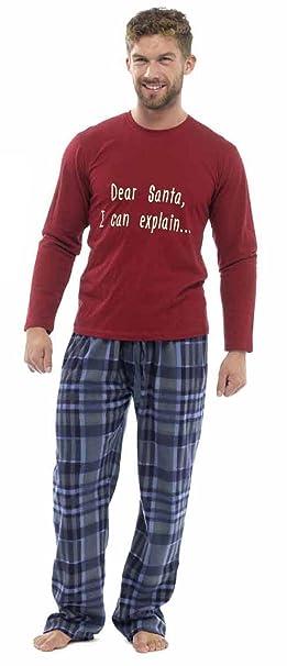 Para Hombre De Navidad / Navidad Eslogan Conjunto Pijama con Fondos De Paño Grueso Y Suave