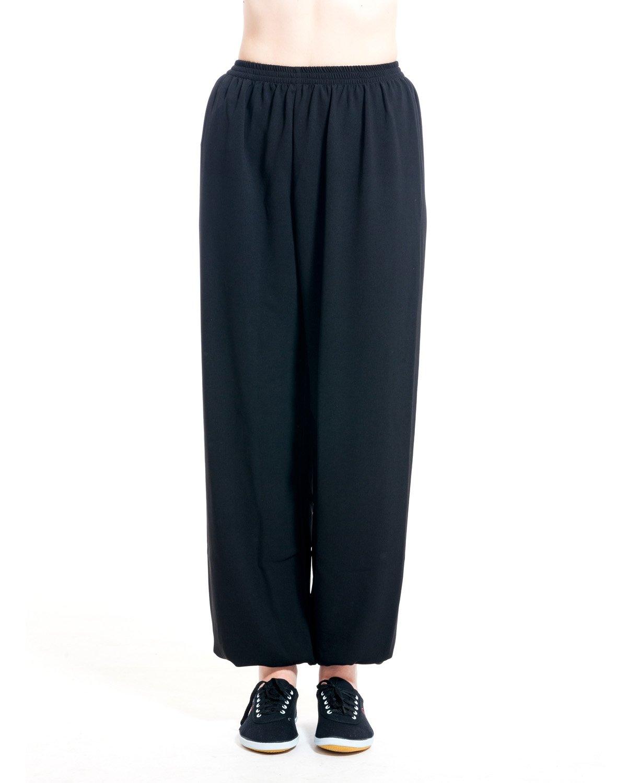 ICNBUYS Women's Kung Fu Tai Chi Pants Cotton Silk XL Black by ICNBUYS