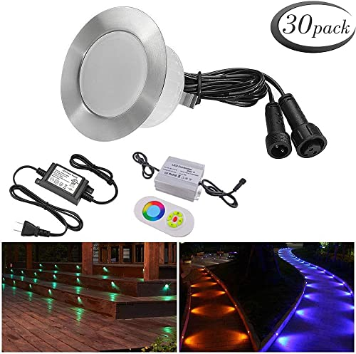 FVTLED 30pcs Multi-Color RGB 1W LED Deck Light Kit 2-2 5 Stainless Steel Waterproof IP67 Recessed Outdoor Yard Garden Patio Stairs Landscape Step Lighting