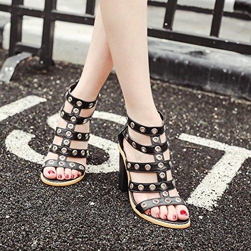 LvYuan-mxx Sandalias de las mujeres / verano de la primavera / botas rojas retras / remaches huecos / dedo abierto del pie / comodidad ocasional / oficina y vestido de la carrera / altos talones , bla BLACK-39