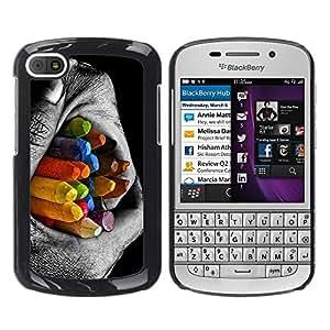 """For BlackBerry Q10 , S-type Lápices colorido contraste"""" - Arte & diseño plástico duro Fundas Cover Cubre Hard Case Cover"""