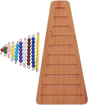 Montessori Matemáticas Materiales Coloreados Escalera de Perlas Artificial con Bandeja: Amazon.es: Juguetes y juegos