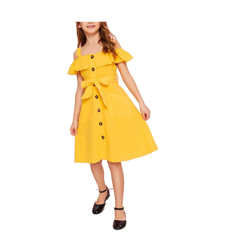 The Fairy Yellow Cold Shoulder Ruffle Trim Belted Boho Shirt Dress 2019 Summer Button Front High Waist Knee Length Cute Dress,Yellow,9T