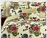 Tache 3 Piece Cotton Floral Spring Country Garden Reversible Bedspread Quilt Set, King