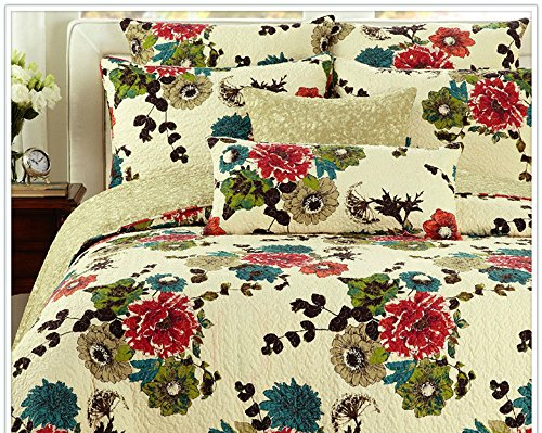 (Tache 3 Piece 100% Cotton Floral Spring Country Garden Reversible Bedspread Quilt Set, Cal King)